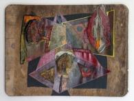 De zwarte driehoek (oude multiplex - acryl - papiermache 35 x47 cm)