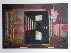 Een zwarte bladzijde (MDF - karton - papiermache - acryl 85 x 122 cm)