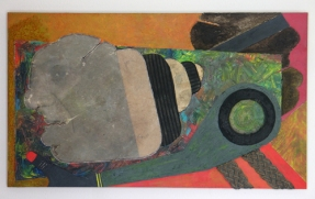 He and his shadow (MDF - papiermache - afaval - acryl 40 x 68 cm)