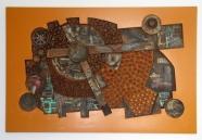 Industry (tafelblad - hout - papiermache -kurk - acryl 73 x 118 cm)