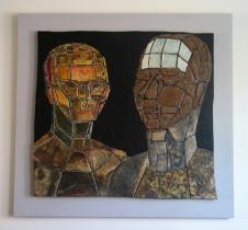 Mirror of a soul (MDF - papiermache - acryl 104 x 110 cm)